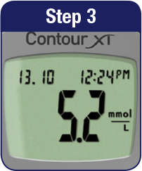 Contour XT step 3 meter showing reading