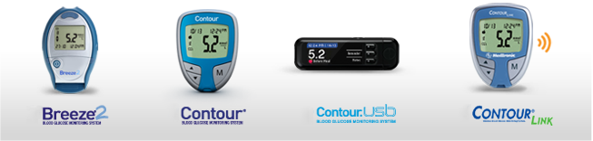 Old Contour meters - Breeze, Contour (blue and silver), Contour USB and Contour Link